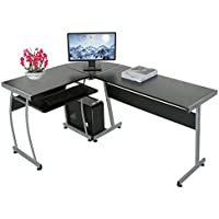 L Shaped Desk, Black New Modern 3-Piece L-Shaped Corner Office Desk Double Computer PC Laptop Study Table Home Workstation