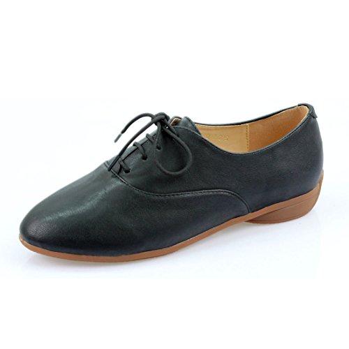 iloveflat Women's Classic Lace Up Dress Low Flat Basic Oxford Shoes 6 B(M) (Lace Up Platform Saddle Shoe)