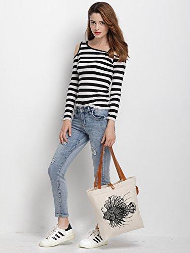 IN.RHAN Women's Animal Goldfish Graphical Canvas Handbag Tote Bag Shoulder Bag