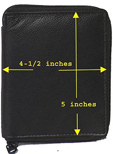 Genuine Leather Executive Zip Around Bi-Fold Coat Wallet Black and Brown #4641 US (Black) by IGI Canada (Image #1)