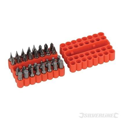 Silverline SB09 Puntas para Atornillador, Puntas Planas 3, 4, 5, 6, y 7 mm, Caja de 33