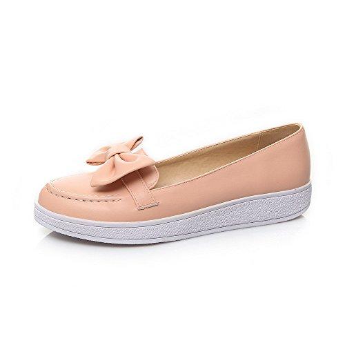 AllhqFashion Damen Rund Schließen Zehe Niedriger Absatz PU Pumps Schuhe Pink