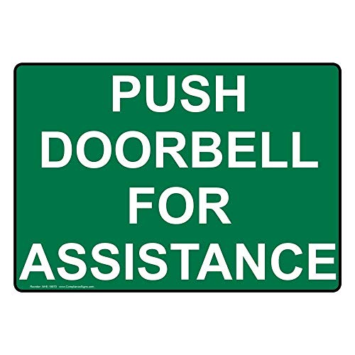 metal Signs Push Doorbell for Assistance Labels, 9 x 6 in. with English Text, Green ()