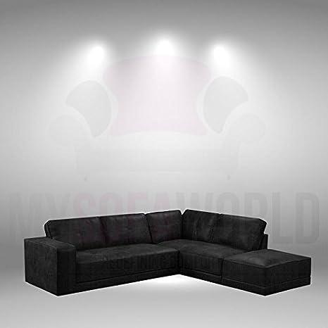 Divani In Pelle Rigenerata.My Sofa World Lyon Ultimate Nero Morbido Cuoio Rigenerato Divano