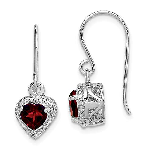 FB Jewels Solid 925 Sterling Silver Rhodium Garnet Small Heart Earrings