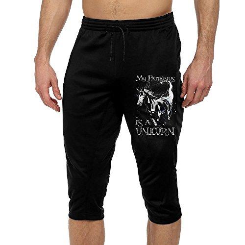 Men's Novelty Performance My Patronus Is A Unicorn Print Crop Sweatpant Capri Pants Drawstring Knee Pant Black X-Large by CNJELLAW