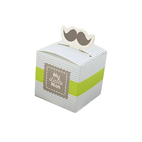 Yalulu 50pcs My Little Man Paper Mustache Candy Box Wedding Favors Candy Holder Bags Boy Baby Shower Wedding Party Gift Boxes (Blue)]()