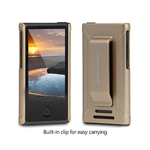 iPod Nano 7 case,Tranesca iPod Nano 7th & 8th generation rubber cover shell case with belt clip - Shiny gold - Ipod Nano Cover