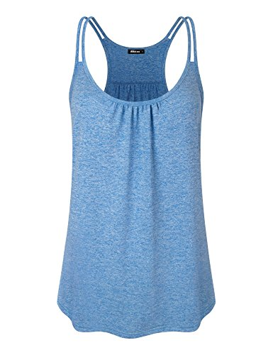 Altelime Workout Tank Tops for Women, Ladies Active Camisoles Sleeveless Scoop Neck Knit Pleated Summer Running Exercise Shirts Athletic Clothes Womens Tank Tops Sky Blue S