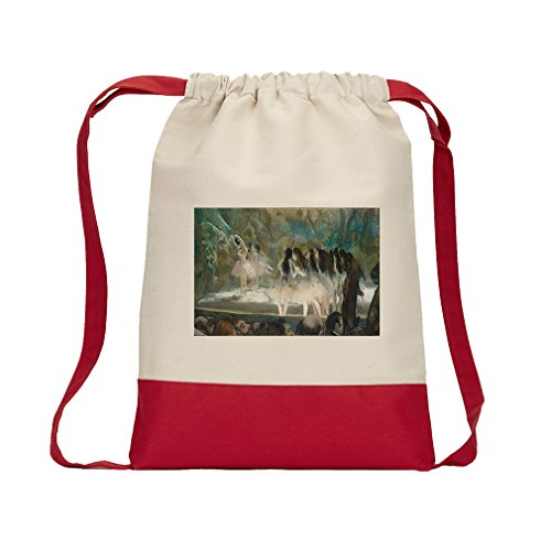 Ballet At The Paris Opera (Degas) Canvas Backpack Color Drawstring Bag - Red (Ballet Bag Degas)