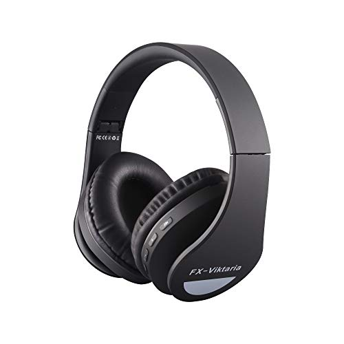 FX-Viktaria Over Ear Headphones, Headset with Microphone, Foldable and Lightweight, Support TF Card, USB Charging Headset, MP3 Mode and FM Radio for Cellphones, Laptop-Black