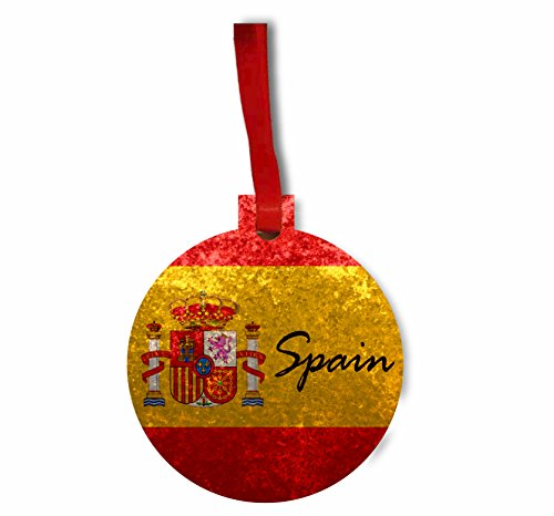 Spain Flag - Rosie Parker Inc. Flat Round-Shaped Hardboard Hanging Holiday Tree Ornament Made in the USA by Rosie Parker Inc.