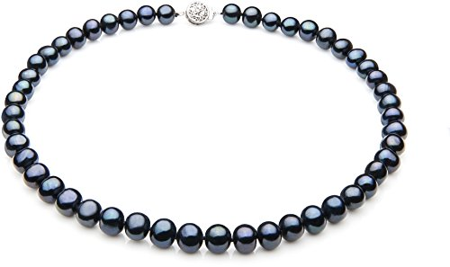 PearlsOnly - Single Black 7-8mm A Quality Freshwater 925 Sterling Silver Cultured Pearl Necklace-23 in Matinee (7 Mm Single Strand)