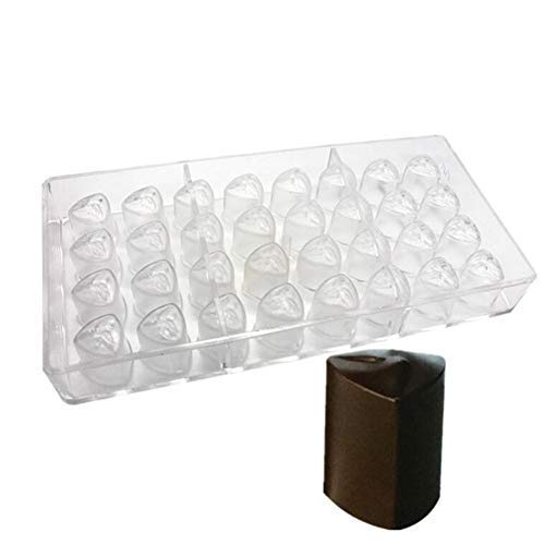 32 Holes 3D Flower Polycarbonate Chocolate Bars Mold,Clear Mould DIY Handmade Maker Ice Tray Cake Mould Baking Mould Chocolate Maker Sweet Candy Mold Bakeware Pan Kitchen Supplies - 27.5x17.5x2.4cm
