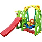 Kids 3 in 1 Outdoor Play Structure Jumbo Slide with Swing And Basket Ball Game