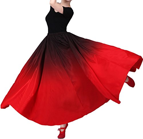 SHOLIND Womens Dance Satin Long Dress Hem Costume Skirt (Hem180° length 80cm, Red) (Flamenco Dance Costumes For Girls)