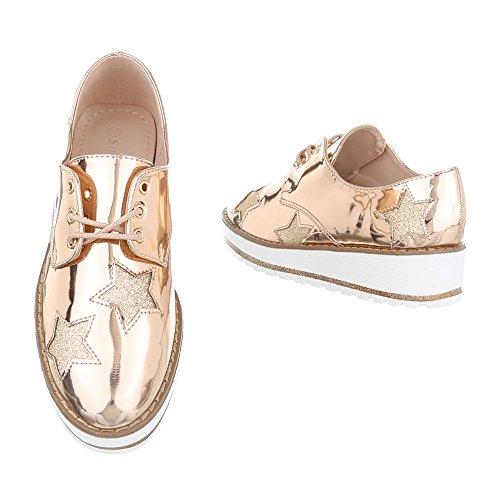 Ital-Design Schnürer Damenschuhe Oxford Schnürer Schnürsenkel Halbschuhe Rosa Gold