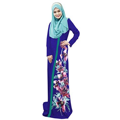 Musulmanes Elegante Longue d't Multicolore Bleu Moyen 2XL Femmes Robes Maxi LuckyGirls Robe Pocket Femme Islamique Impression Orient E7wqTRXIn