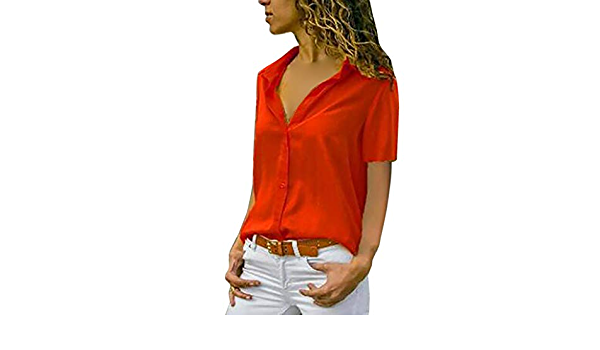 Lanskirt Camisa de Manga Corta con Cuello en V en Color Liso ...