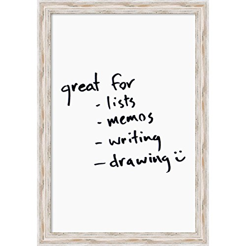 Amanti Art Framed Dry Erase Board Large, White: Outer Size 23 x 33, Alexandria Wash Distressed Shabby Chic Wood