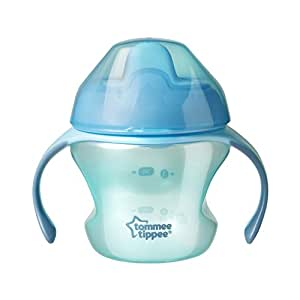 Tommee Tippee Closer to Nature First Sips Transition Cup, BPA-Free, 4+ Months, Non-Spill, Blue, 5 Ounce, 1 Count