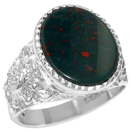 - Gents Solid 925 Sterling Silver Natural Bloodstone Mens Mans Signet Ring - Size 7 - Sizes 6 to 13 Available