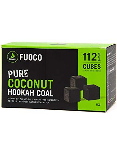FUOCO 112 LARGE CUBE COCONUT HOOKAH COAL BY FUMARI Shisha Natural Charcoal With Bonus Starbuzz Tongs And Foil Poker