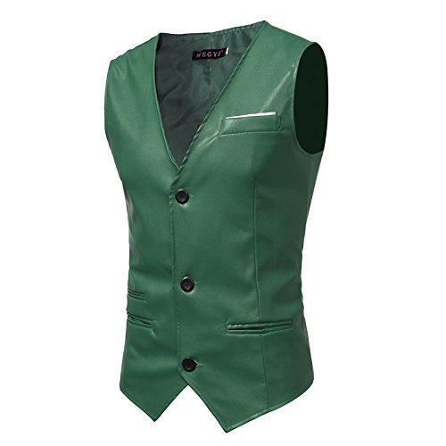 Männer - Slim - Anzug, Weste, Mann ist Einfachheit, self - anbau, pu Haut, Herr Weste,grüne,l