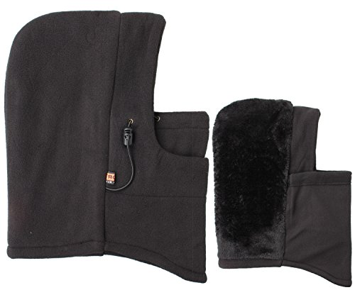 Fleece Hood 1 - Full 90 Eforstore 6 In 1 Thermal Fleece Balaclava Hat Hood Police SWAT Ski Bike Wind Stopper Mask (Black With Furry Interior)