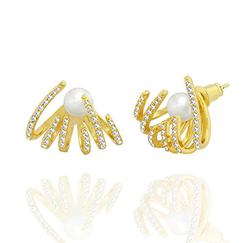 Diane Lo'ren 18kt Gold Plated Genuine Pearl Ear Crawler Cuff Wrap Earring Set For Women (Yellow Gold) ()