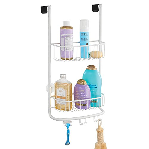 mDesign Modern Metal Bathroom Tub and Shower Caddy, Over Door Hanging Storage Organizer Center with 6 Built-in Hooks and 2 Baskets for Bathroom Shower Stalls, Bathtubs - Matte White Finish -
