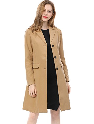 Allegra K Women's Notched Lapel Button Closure Long Coat XL Brown