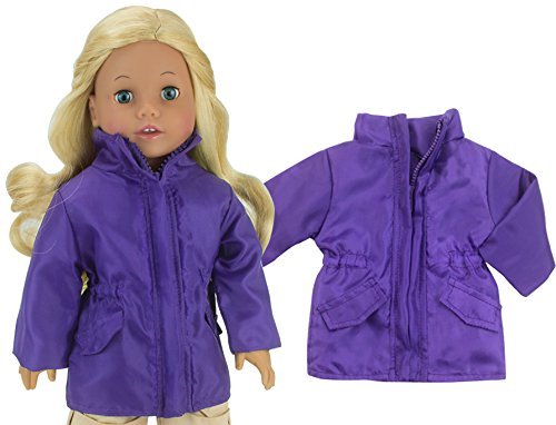 Purple Parka for 18 Dolls | Zip Up Purple Doll Coat with Pocket Flaps