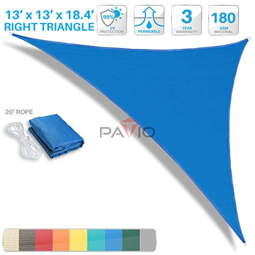 (Patio Paradise 13' x 13' x 18.4' Blue Sun Shade Sail Right Triangle Canopy - Permeable UV Block Fabric Durable Outdoor - Customized Available )