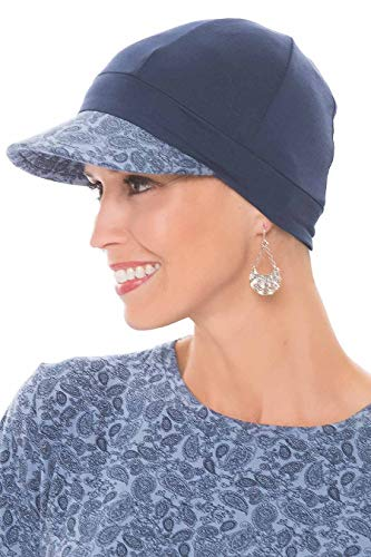 Cardani Bamboo Baseball Cap - Caps for Women with Chemo Cancer Hair Loss Navy w/Denim Paisley]()