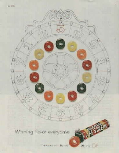Winning flavor everytime, The candy with the hole, still 5 Cents! ..... 1960 LIFESAVERS Candy Ad, A5830. - Ad Lifesavers