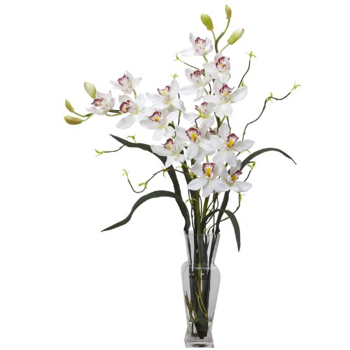 Nearly Natural 1183-WH Cymbidium Silk Flower Arrangement, White (Cymbidium Orchid Silk Flower)