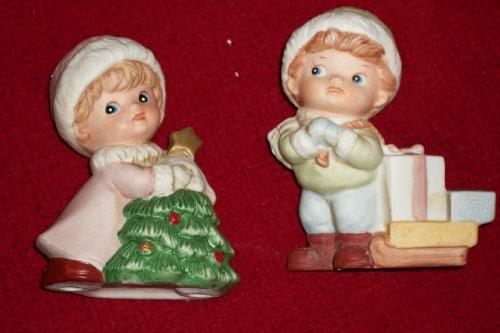 Homco Vintage Porcelain Christmas Boy and Girl Figurines #5556 in Styrofoam Storage Box