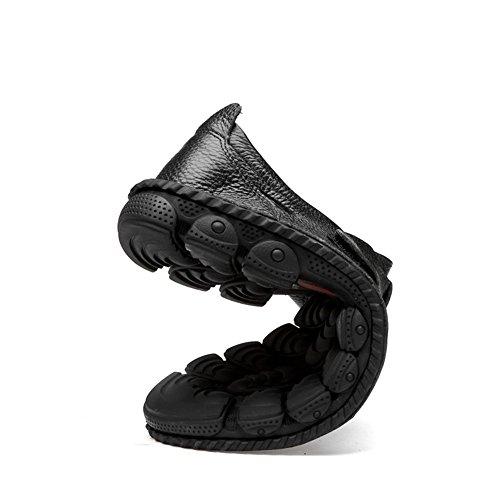 Verano Planos Velcro Elegantes Piel Retro Negro Vestir Mocasines Zapatillas Comodo Baratos Zapatos Sandalias Antislip Ancho Hombre Walk Cuero IpUSgx