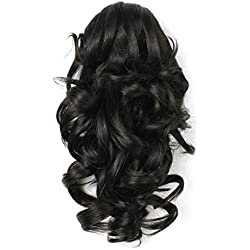 "Onedor 12"" Synthetic Fiber Natural Textured Curly Ponytail Clip In/On Hair Extension Hairpiece (2# - Darkest Brown)"