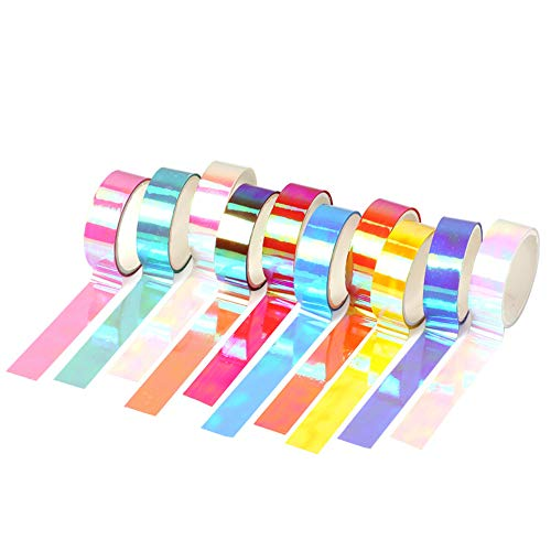 10 Rolls Holographic Rainbow Masking Tape Colorful Rainbow Bling Sparkling Waterproof Adhesive Tapes Set Assorted Color Decorative DIY Scrapbook Notebook Gift Box Sticky Tapes Crafts Supplies