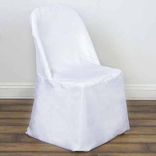 Efavormart 10pcs Polyester Linen White Folding Chair Cover Dinning Chair Slipcover for Wedding Party Event Banquet ()