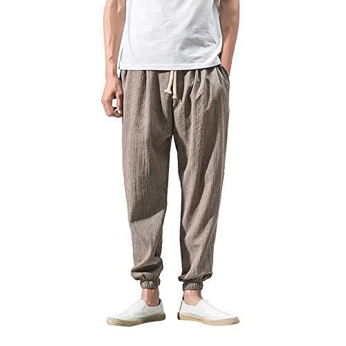 Creazrise Men's Fleece Jogger Pants Active Zipper Pocket Sweatpants Ankle-Length Linen Baggy Harem Pants Khaki