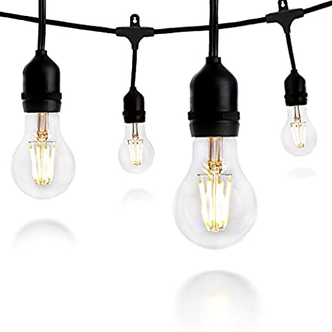 Crelitech Outdoor or Indoor LED String Lights for Patio, Garden or Backyard Décor – Commercial Grade Weatherproof Build – 15 Lamp-Holders – Black Color – Includes 4-watt 20 LED Dimmable (C7 Twinkling Bulbs)