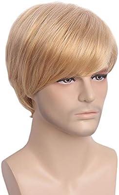STfantasy Pelucas Hombre Corta Recta Suave Natural Men Wig ...