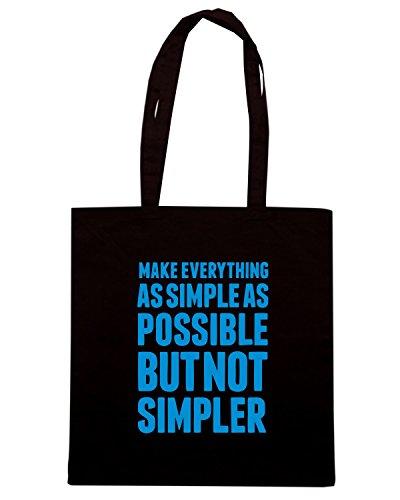 T-Shirtshock - Bolsa para la compra CIT0161 make everything as simple as possible but not simpler Negro
