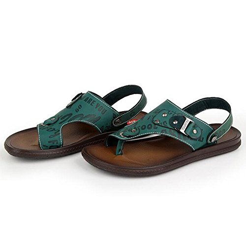 Odema Mens Summer Business Sandals Leather Casual Slippers Shoes Flip Flops Green cdN8xF91i