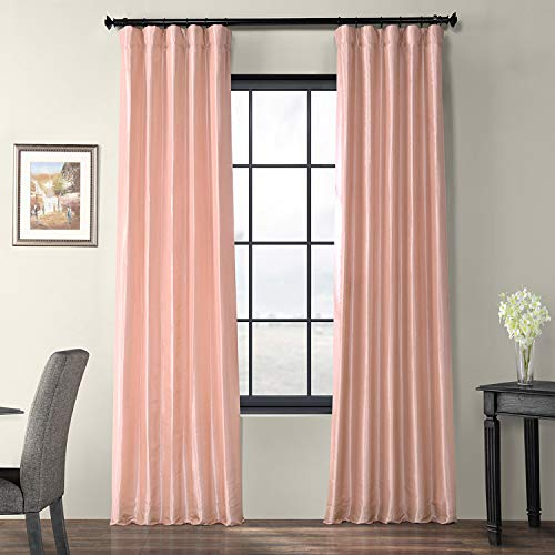 Exclusive Fabrics & Furnishings Salmon Rose Pink Light Filtering Faux Silk Taffeta Curtain - 50 in. W x 96 in. L