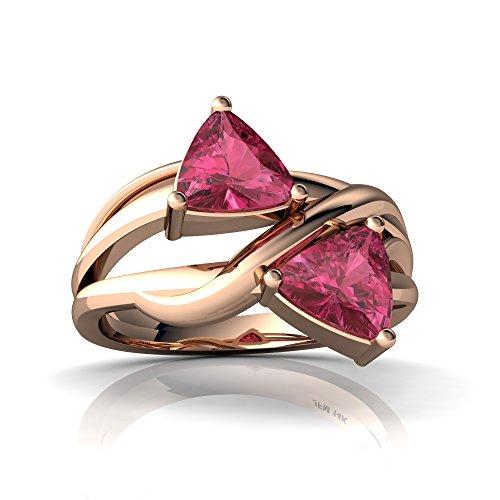 14kt Rose Gold Pink Tourmaline 6mm Trillion Split Band Swirl Ring - Size - Tourmaline Ring Pink Trillion