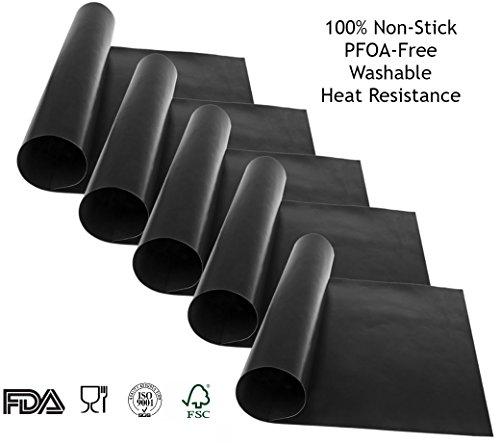 "BBQ GRILL Mat - Set of 5 - 100% Teflon Non-Stick Heat Resistant Professional Baking BEST Sheet Material Reusable-Reversible 15.75"" x 13"""